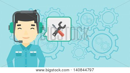 An asian operator of technical support wearing headphone set. Technical support operator and speech square with screwdriver and wrench. Vector flat design illustration. Horizontal layout.