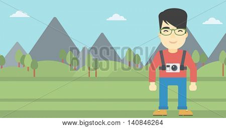 An asian man with a digital camera on his chest. Tourist with a digital camera standing on the background of mountains. Vector flat design illustration. Horizontal layout.