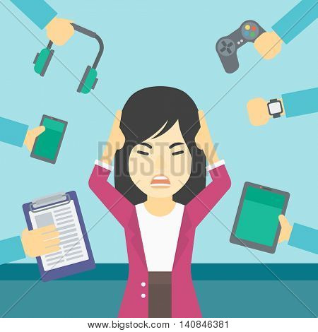 An asian woman in despair and many hands with gadgets around her. Woman surrounded with gadgets. Woman using many electronic gadgets. Vector flat design illustration. Square layout.