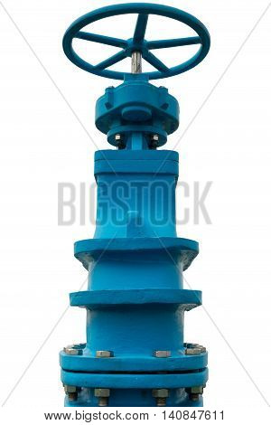 Control main valve on isolation white background Water control main valve Pipeline distribution Water pipeline.