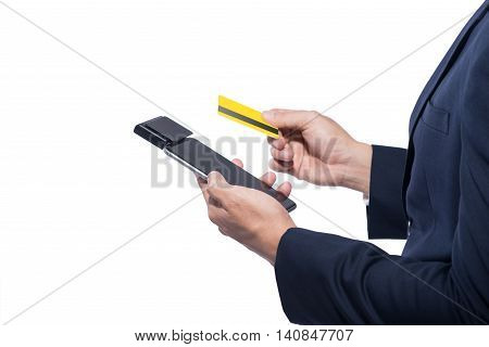 Swiping Credit/Debit Card With Card Reader to payment shopping