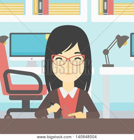 An asian young woman making a model with a 3D pen. Woman drawing geometric shape by 3d pen. Engineer working with a 3 dimensional pen. Vector flat design illustration. Square layout.