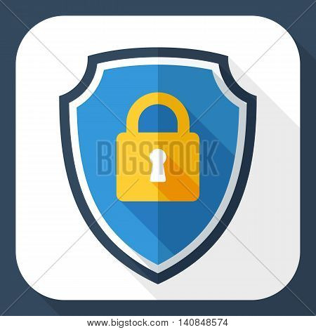 Vector Protective Shield Icon With The Image Of A Padlock. Security Concept Simple Icon In Flat Styl