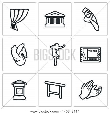 Icons who identify Ballet Isolated on a white Background