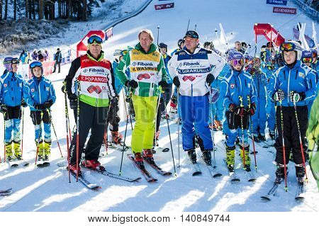 Bansko, Bulgaria - December, 12, 2015: Open new ski season 2015-2016 in Bansko, Bulgaria. Marc Girardelli, Markus Wasmeier, Petar Popangelov