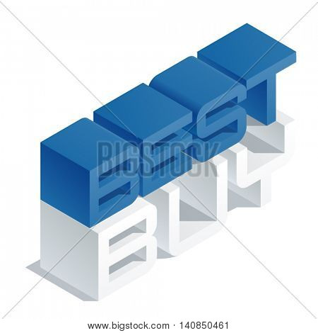 Vector promotion banner with 3D volume letters. Slim three dimensional isometric text Best buy