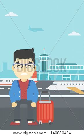 An asian man frightened by future flight. Young man suffering from fear of flying. Phobia, fear of flying concept. Vector flat design illustration. Vertical layout.