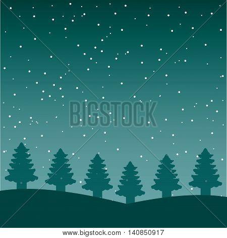snowscape night background icon vector illustration design