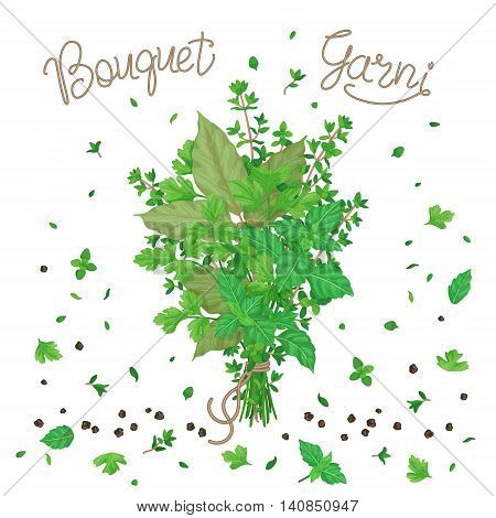 Bouquet garni of thyme bay leaves parsley and basil tied with a string. Bundle of flavoring green herbs scattered leaves and pepper isolated on white.