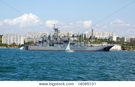 Ukrainian military ship at Black sea Ukraine poster