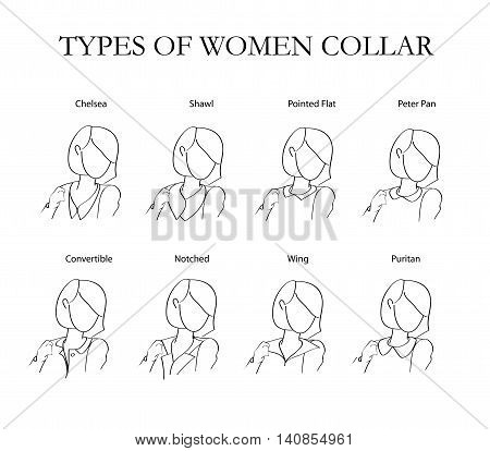 types of women collars in the background. vector illustration.