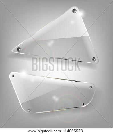Set of glass transparent vector banners. Bright vector design elements. Eps10 vector illustration
