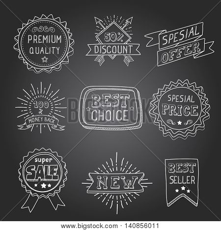 Hand drawn style badges and elements best choice, sale and spesial offer