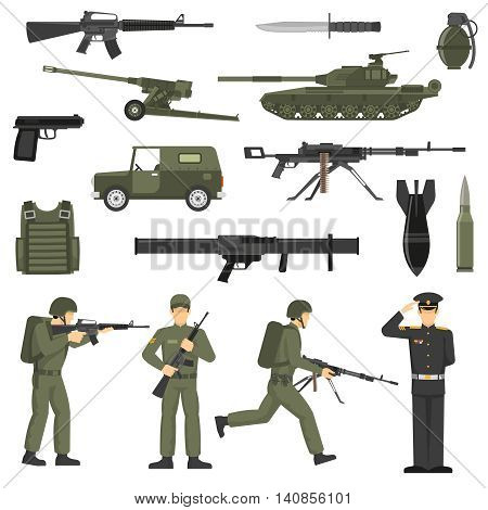 Army icons collection with military soldiers officers servicemen  ammunition weapon and machinery olive khaki abstract vector illustration
