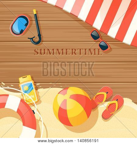 Beach equipment with sand and summer time symbols flat vector illustration