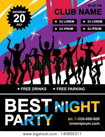 Disco party poster with silhouettes of dancing youth information about party planner telephone and event date vector illustration