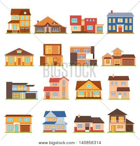 Decorative collection of modern town house cottage and estate building flat colored isolated icons vector illustration