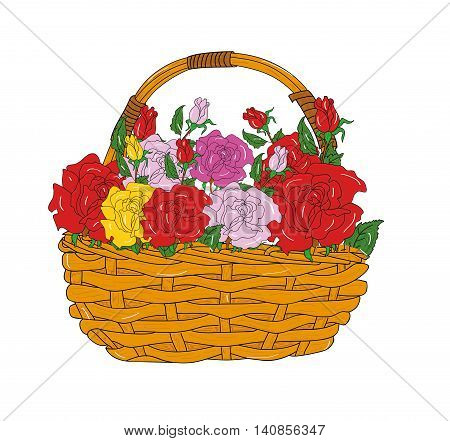 basket of flowers roses in the background. vector illustration