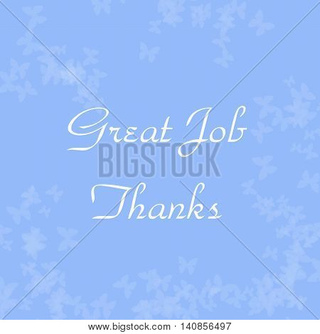 pale butterflies scattered on blue thank you note illustration