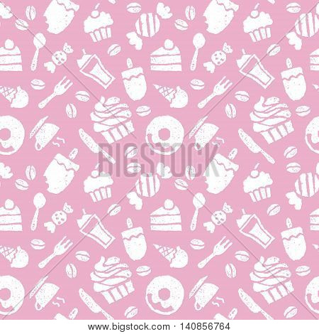 Sweets coffee spoon knife and folk seamless pattern
