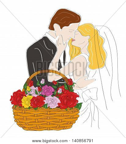 wedding couple on the background basket with flowers of roses. vector illustration