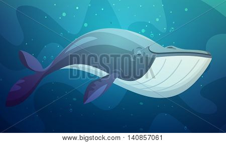 Large ocean dweller shark fish swimming underwater with bubbles background abstract retro cartoon character vector illustration