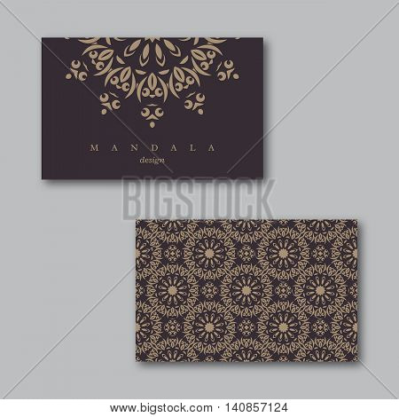 Set of ornamental business cards with mandala and pattern visiting template card beige brown colors.Vintage decorative elements.Indian asian arabic islamic ottoman motif. Vector