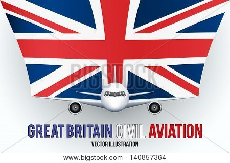 Front view of Civil Aircraft with flag of Great Britain. Public or private plane. For business and travel design. Vector Illustration isolated on background.