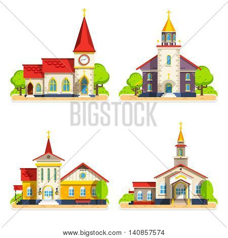 Beautiful historic church buildings of different architecture styles flat icons set on white background isolated vector illustration