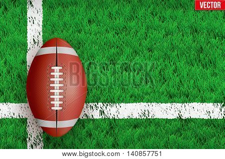 White line on grass field. Closeup For various sport background. Editable Vector illustration Isolated on background.