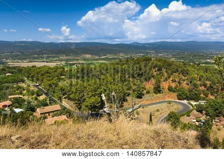Panorama view of Luberon natural park from Roussillon village France