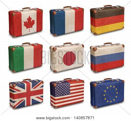 Vintage suitcase flags Group of Eight and EU isolated on white