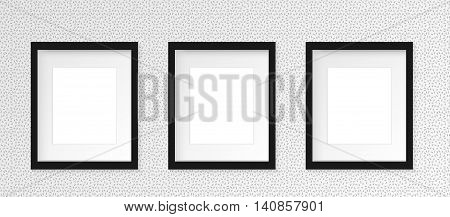 Set of 3 Three Black vertical photo frame on gray wall with realistic shadows. Vector illustration. 3 columns