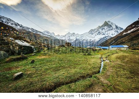 View of the himalayan peak the 6993 ms. mount Machhapuchhare-Fish Tail from Annapurna Base Camp Nepal. poster