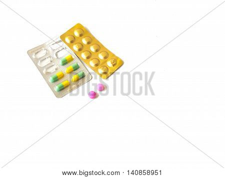 Pills medicine isolated on a white background.