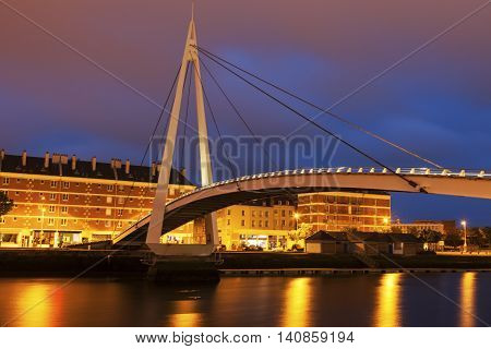 Pedestrian bridge in the center of Le Havre. Le Havre Normandy France