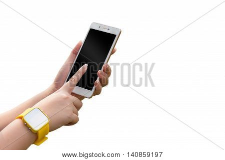 Young woman wearing yellow watch touching on smartphone isolated on white background