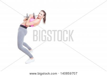 Woman Working Out Bending Over Back Holding Dumbbell
