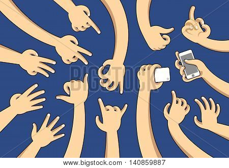Illustrations of hands in cartoon style in many different positions.