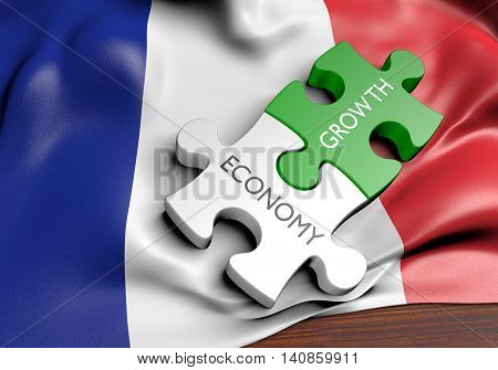 France economy and financial market growth concept, 3D rendering