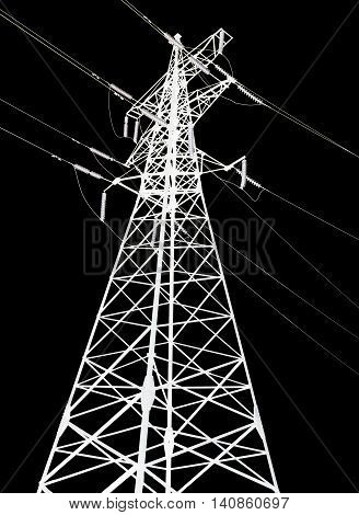 Electricity pylon isolated on black background closeup