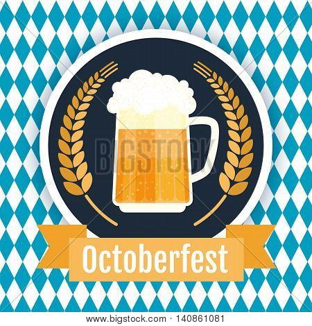 Oktoberfest beer festival logo design. Flat vector illustration.