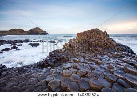 Giants Causeway coastline in Northern Ireland at sunset