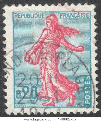 MOSCOW RUSSIA - CIRCA APRIL 2016: a post stamp printed in FRANCE shows Sower circa 1960
