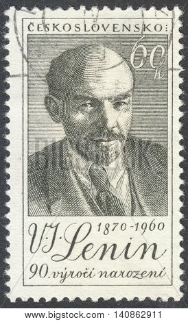 MOSCOW RUSSIA - CIRCA APRIL 2016: a post stamp printed in CZECHOSLOVAKIA shows a portrait of Lenin devoted to the 90th Anniversary of the Birth of Lenin circa 1960