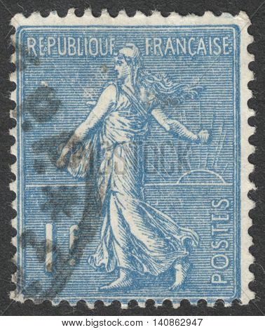 MOSCOW RUSSIA - CIRCA APRIL 2016: a post stamp printed in FRANCE shows Sower circa 1924-1926