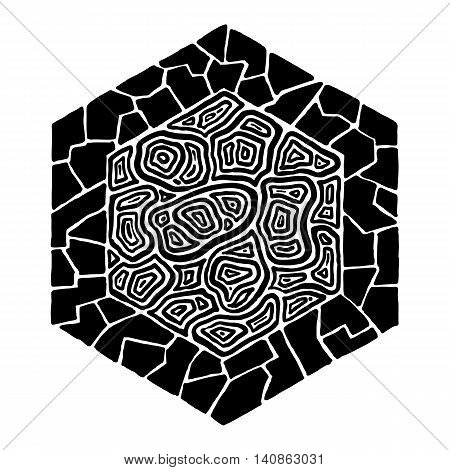 Hand drawn abstract pattern fitted into hexagonal shape. #2