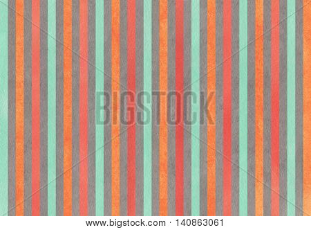 Watercolor Carrot Orange, Seafoam, Red And Grey Striped Background.