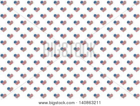 American Flag Pattern With Hearts.
