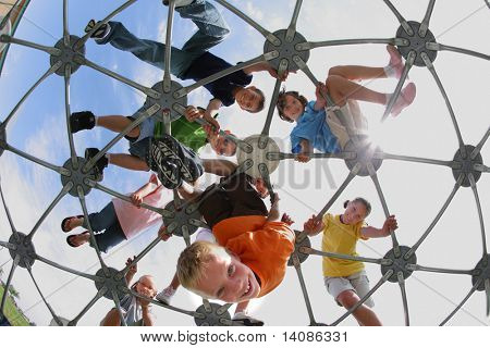 Elementary school students on play structure
